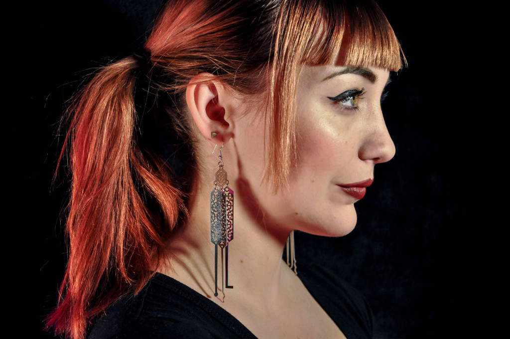 One of Sleek and Destroy's most popular products - a set of functional lock pick earrings.